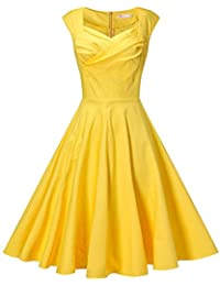 Women's 50s Retro Cap Sleeve Party Swing Dress Sleeveless Vintage Tea Dresses