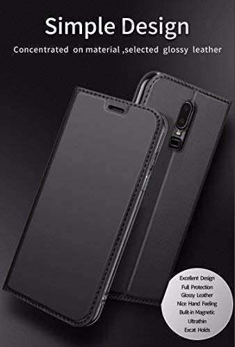 size 40 c00ff 7fee8 OnePlus 6 Flip Cover Slim Thin Leather DZGOGO PU Flip Case with Stand Card  Holder Magnetic Closure TPU Sleep Wake Up Cover for OnePlus 6 (1+6) - Black