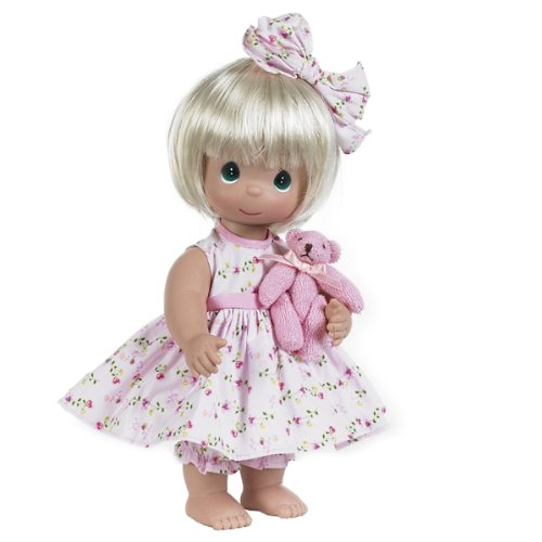 The Doll Maker Precious Moments Dolls, Linda Rick, Bear-Foot Blessings Blonde, 12 inch doll from The Doll Maker