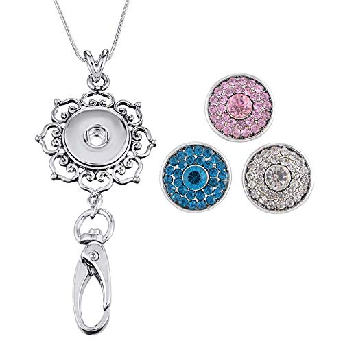 Souarts Womens Office Lanyard ID Badges Holder with 3pcs Snap Charms Jewelry Pendant Clip 25 Inch (9)