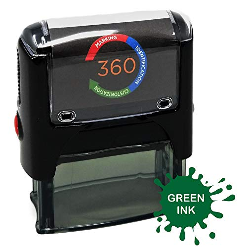 Custom Self Inking Rubber Stamp - 1 Line (Green)