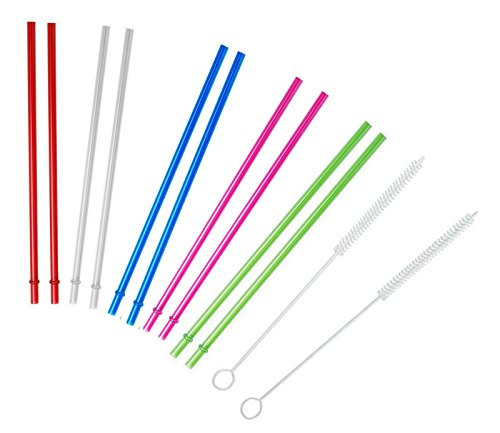 Set of 10 Colorful Tumblers Replacement Straw BPA-Free with 2 Cleaning Brush - Tall Grande, 16oz 20oz By (Tumber Set)