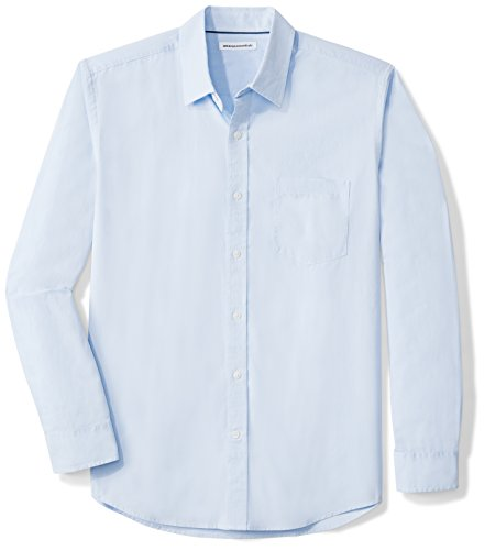 Amazon Essentials Men's Regular-Fit Long-Sleeve Solid Casual Poplin Shirt, Light Blue, Large