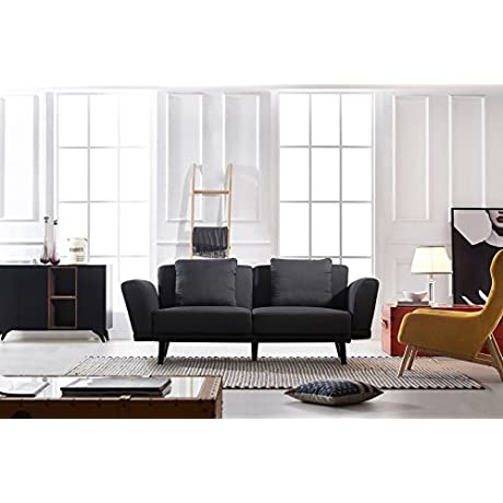 Modern And Sleek Living Room Linen Fabric Sofa Couch Dark Grey
