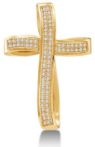 10K Yellow Gold Curved Bow Style Cross Micro Pave Set Round Diamond Pendant - (1/4 cttw) (Diamond Set Bow Pendant)