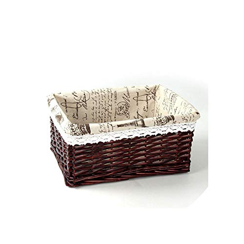 Bamboo Weaving Storage Basket Fruit Picnic Basket Rattan Storage Box for Cosmetics Snacks Tea Book Organizer Handiwork,04,China,C(35X25X14 cm) ()