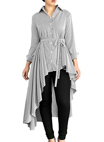 Shineya Women's Long Sleeve Striped Lapel Shirt High Low Irregular Belted Blouse Tops Grey - Blouse Sleeve Long Belted