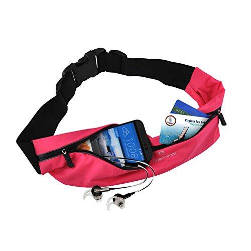 Laufgurt »FunRunner« Stilvolle Gürteltasche / Bauchtasche / Lauftasche für Laufen, Wandern, Klettern, Reiten / leuchtet in der Nacht (reflektiert z.B. Licht von Autos) / 4x Farben / Handys ab ca. 4Zol pink