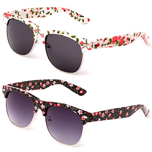 (Newbee Fashion Floral Design Flower Art Semi-Rimmed Unique Love Women Spring Fashion)