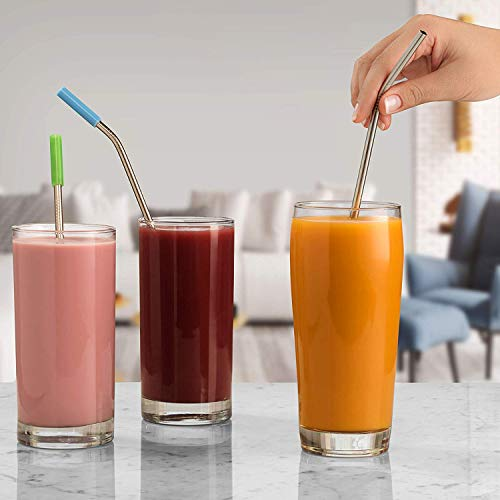 iCooker 8 Pack Reusable Stainless Steel Straws with Colorful Silicon Tips