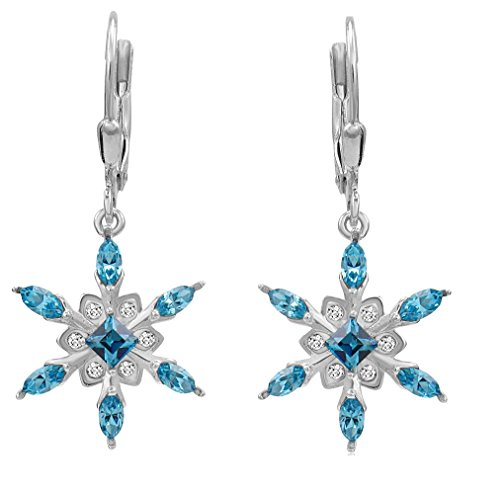 Sterling Silver Snowflake Leverback Earrings Adorned with Swarovski Crystals