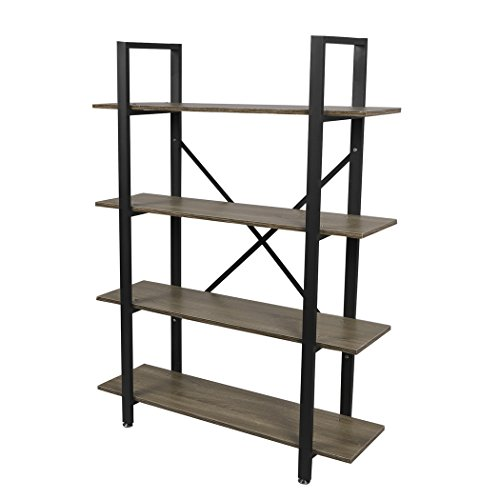 Easeurlife Vintage Home Bookshelf Free Standing Industrial Bookcase Cabinets Shelves, Grey (4 Tier)