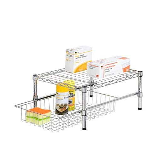 Honey-Can-Do Adjustable Shelf With Under Cabinet Organizer, Chrome Plated Steel SHF-03525