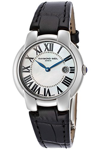 Raymond Weil 5229-Stc-00970 Women's Jasmine White Mop Dial Black Genuine Leather Watch