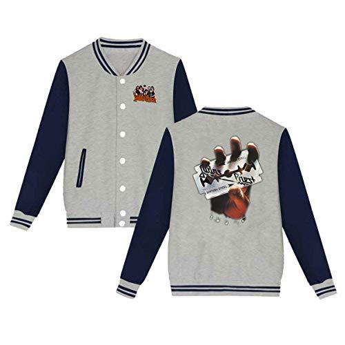 X Q X Baseball Uniform Jacket Sport Coat, Judas British Steel Priest Cotton Sweater for Women Men Boy -