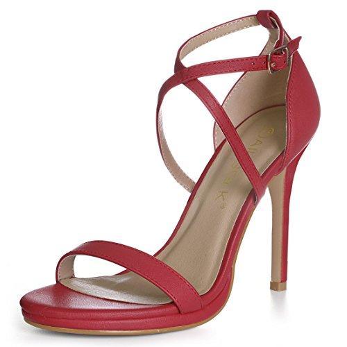 Allegra K Womens Cross Strap Stiletto Sandals Red TPC8dbGu