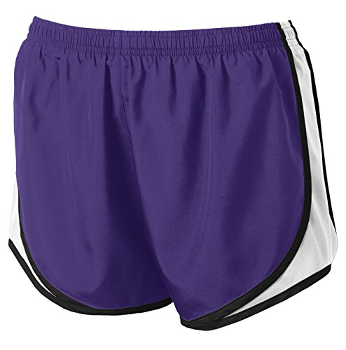 (Joe's USA Ladies Moisture-Wicking Track & Field Running Shorts. Purple/White/Black-M)