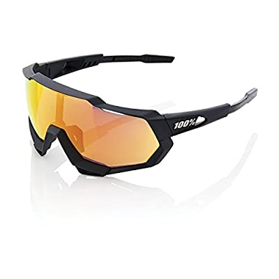 Image of 100% Unisex-Adult Speedlab (61023-100-43) Speedtrap-Soft Tact Black-HiPER Red Multilayer Mirror Lens, Free Size) Sunglasses
