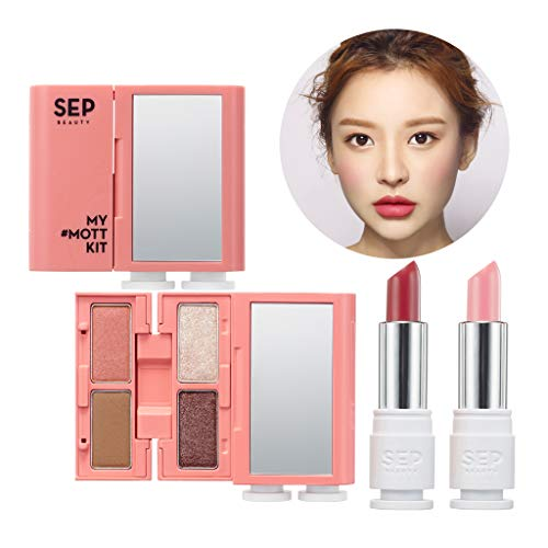 [SEP BEAUTY] My MOTT Multi Makeup Kit 01 Wake Me - Handy Compact Makeup Kit with Mirror / 4 Colors of Eye Shadow (Face Contour) + Tinted Lip Balm + Lip & Cheek Stick/Pure & Lively Pink Beige Color ()