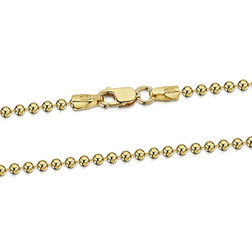 Amberta 18K Gold Plated on 925 Sterling Silver 2 mm Ball Chain Necklace Length 18