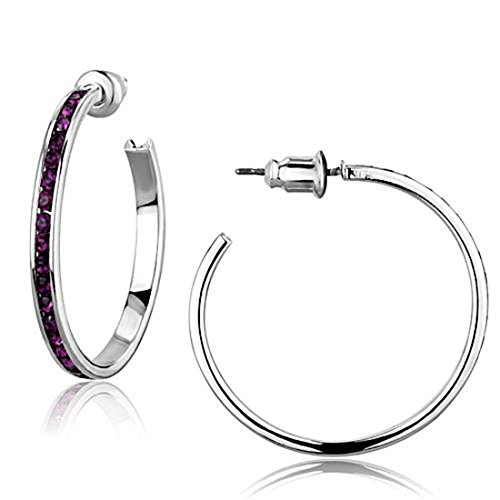 Rhodium Plated Top Grade Purple Channel Set Hoop Post Fashion Earrings (Set Purple Channel)