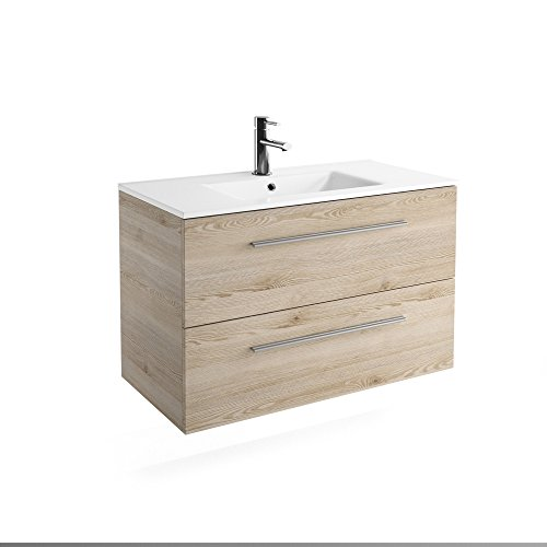 Chrome 40 inches 2 Drawers Wall Mounted Modern Bathroom Vanity. Natural with Ceramic Basin