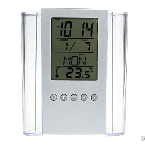 Ladaidra Pen Pencil Holder Desk Digital LCD ALarm Clock Time Temp Calendar Clear Transparent Makeup Storage Oganizer Stationery Supply for Home Office School (Christmas Countdown To Exact)