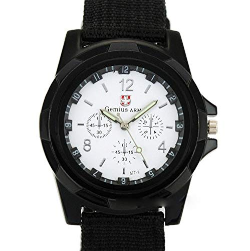 Fashion Army Racing Force Military Sport Mens Fabric Band Watch,Outsta Gift Watches Round Case Wristwatches (White)
