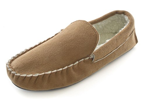 Boys Borg Mens Brown Tan Sandal Moccasin Suede Navy Gents 7 Fur Black Microfibre Size 12 Shoes Tan Slippers Lined OqfIdfr