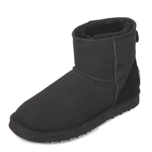 (AUSLAND Women's Leather Snow Boots Short Winter Shoes A5854 Black 6.5 B(M) US)