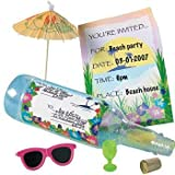 Message in a Bottle Luau Tropical Pool Party Invitations (1-Pack of 12)