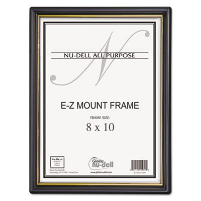Nu-Dell - EZ Mount Document Frame, Plastic, 8 x 10, Black - Sold As 1 Each - Frame has gold accents. by Nudell
