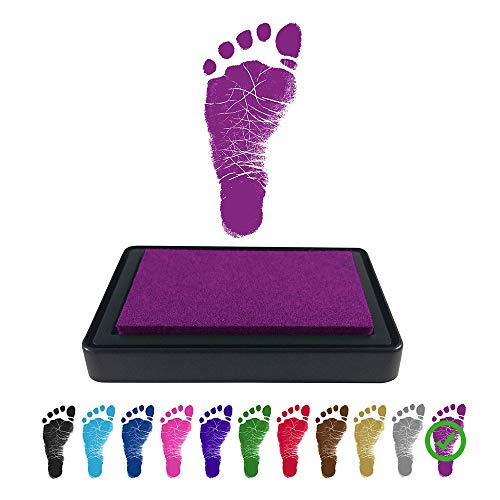 (ReignDrop Ink Pad For Baby Footprints and Hand prints, Create Impressive Keepsake Stamp, Non-Toxic, Acid-Free Ink, Easy To Wipe and Wash Off Skin, Smudge Proof and Long Lasting Keepsakes (Purple))