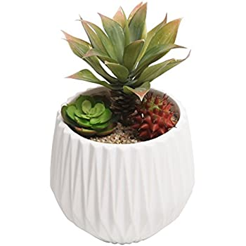 MyGift Modern Ceramic Planter, Small Round Garden Plant Container Pot, White