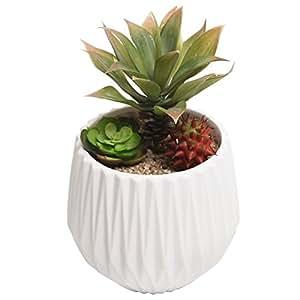 MyGift Modern Ceramic Planter, Small Round Garden Plant Container Pot, White