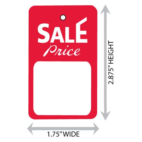 """Large (1.75"""" X 2.875"""") Promotional Sale Merchandise Price Tag (Unstrung). Case of 2,000 Tags."""