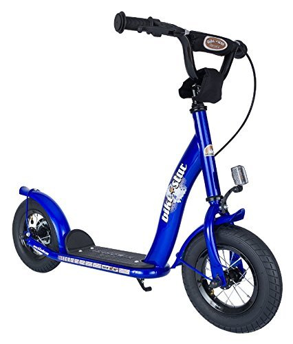 BIKESTAR® Original Safety Pro Sport Push Kick Scooter Kids with brakes, mudguard and air tires for age 5 year old children | Classic Edition with Alloy Wheels 10 Inch | Adventurous Blue