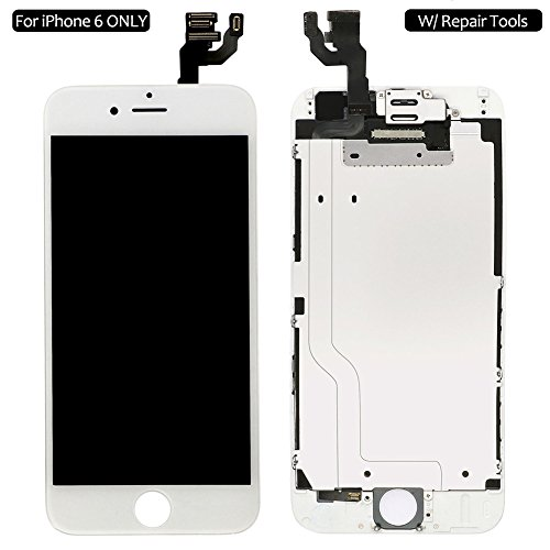 Screen Replacement For iPhone 6 White, Fully Pre-Assembled LCD Display Touch Screen Digitizer Replacement A1549/A1586/A1589, Including Repair Tools