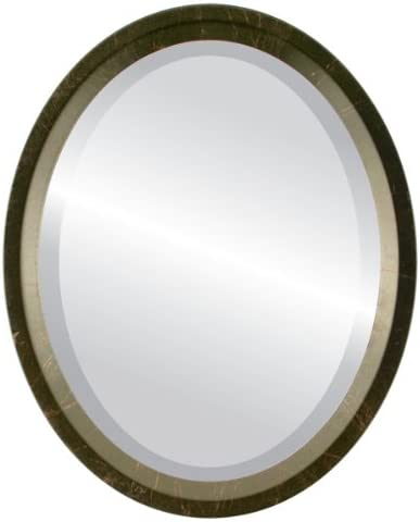 Oval Beveled Wall Mirror for Home Decor – Huntington Style – Veined Onyx – 22×26 Outside Dimensions