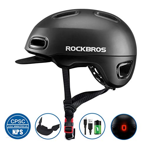ROCK BROS Adult Bike Helmet Urban Commuter Bicycle Helmet with Rear Light for Women Men Cycling Skate 22.4-24.4 inches Black+Light