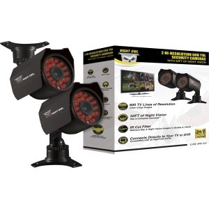Night Owl CAM-2PK-624 Surveillance/Network Camera – Color 2PK HI-RES 600TVL SECURITY CAMS 50FT OF NIGHT VISION Cable, Best Gadgets
