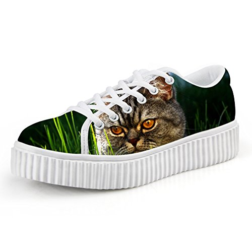 HUGS IDEA Cat Face Print Casual Platform Sneakers Round Toe Low Cut Shoes Cat Face 8 iX29PdP