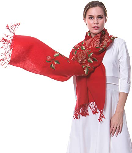 (MORCOE Women's Top-class 100% Wool Delicate Embroidered Soft Long Floral Scarf Warm Wrap Party Wedding Shawl Gift …)