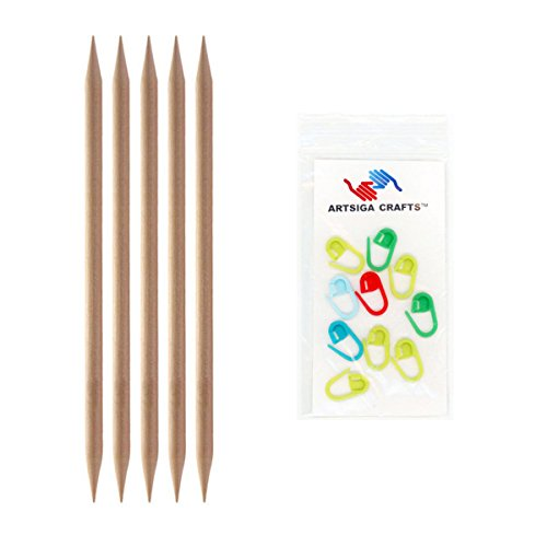 Knitter's Pride Basix Double Pointed 8-inch (20cm) Knitting Needles; Size US 13 (9.0mm) Bundle with 10 Artsiga Crafts Stitch Markers 400102