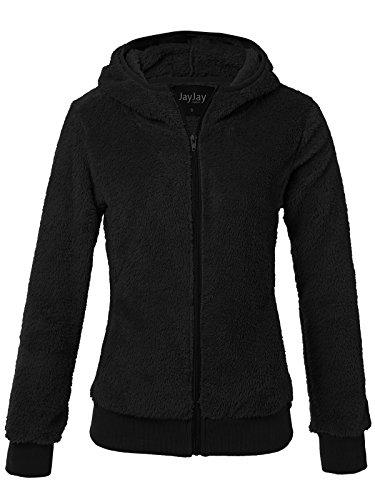 JayJay Women Athlete Ultra Soft Fur Fleece Rib Waist Long Sleeve Jersey Jacket,Black,2XL ()