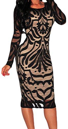 erdbeerloft - Vestido - Opaco - para mujer negro y dorado
