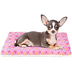 Mora Pets Ultra Soft Pet (Dog/Cat) Bed Mat with Cute Prints   Reversible Fleece Dog Crate Kennel Pad   Machine Washable Pet Bed Liner (22-Inch, Pink)