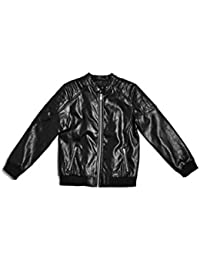 Big Boys' Faux-Leather Bomber Jacket