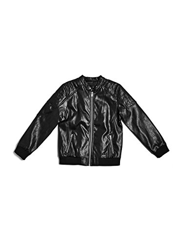GUESS Big Boys' Faux-Leather Bomber Jacket, Jet Black, 14