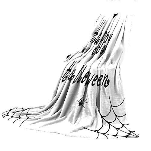 SCOCICI Blanket for Bed Couch Chair Fall Winter Spring Living Room,Spider Web,Happy Halloween Celebration Monochrome Hand Drawn Style Creepy Doodle Artwork,Black White,59.06
